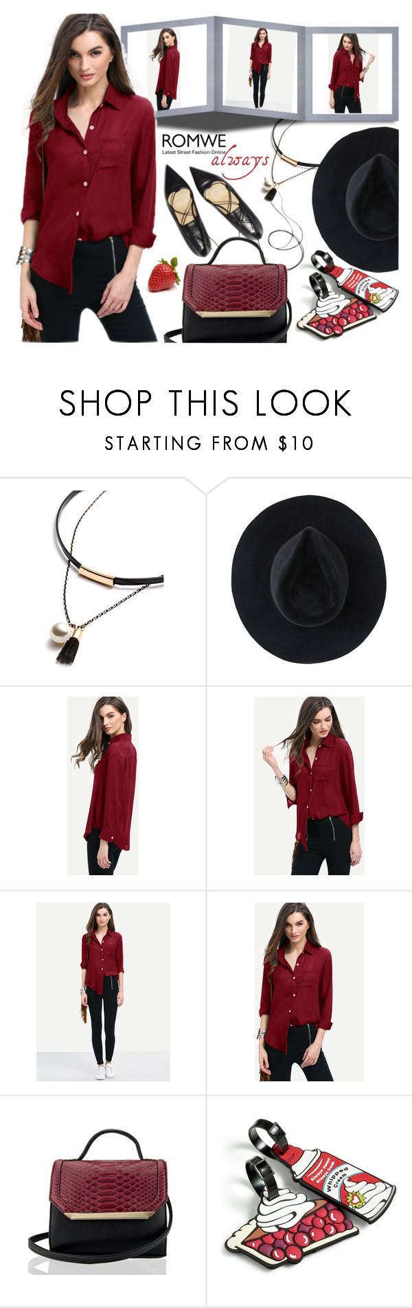 """""""Romwe contest: Burgundy Curved Hem Pocket Shirt"""" by aleksandra985 ❤ liked on Polyvore featuring Ryan Roche, Handle and Betsey Johnson"""