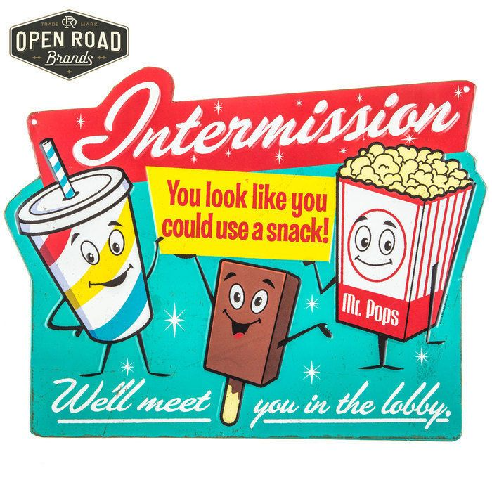 Theater Room Snack Bar: VINTAGE STYLE EMBOSSED TIN METAL INTERMISSION SIGN SNACK