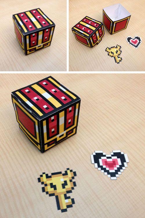 Legend Of Zelda Treasure Chest Pixel Papercraft This