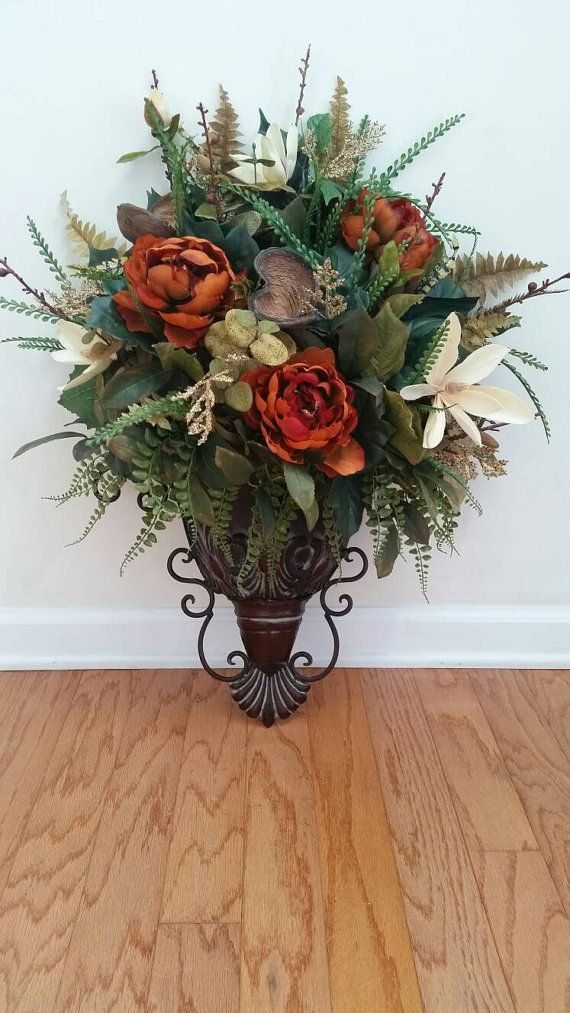 Elegant Traditional Wall Sconce Fall Fl Arrangement Silk Flowers Ferns Arrangements Christmas