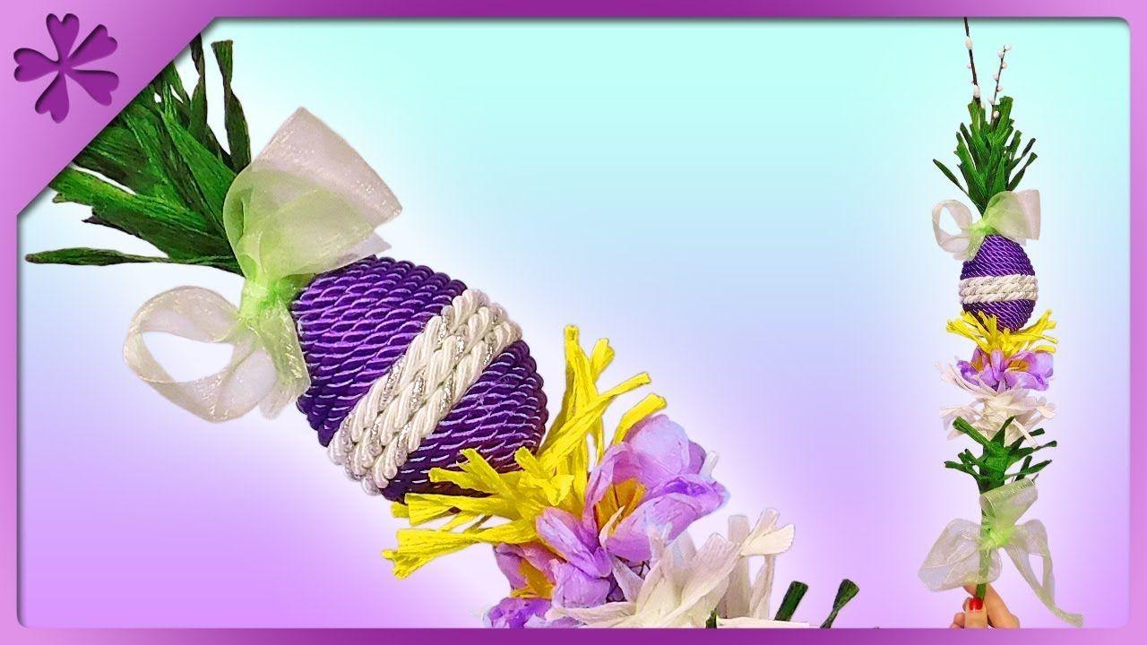 Diy Palma Wielkanocna Z Pisanka I Krokusami Z Krepiny Zobacz Jak Zrobic Easter Diy Easter Eggs Easter