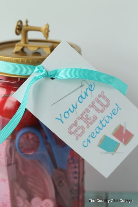 You are SEW Creative gift in a jar -- a fun gift for anyone that is creative!  You can make this in less than 10 minutes!
