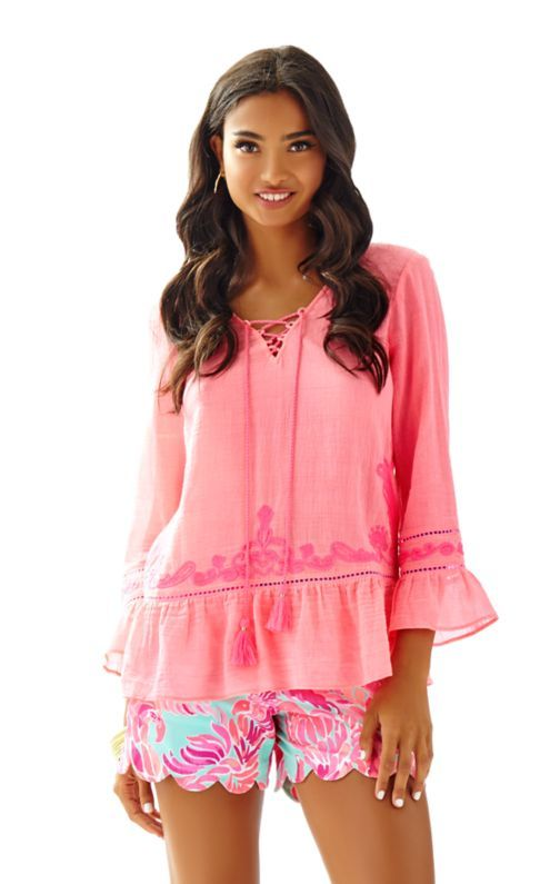 075b5335b0d The Tallulah Tunic is a pink crinkle gauze top with a ruffle bottom. This  iconically boho tunic is a great addition to your packing list for your  next ...