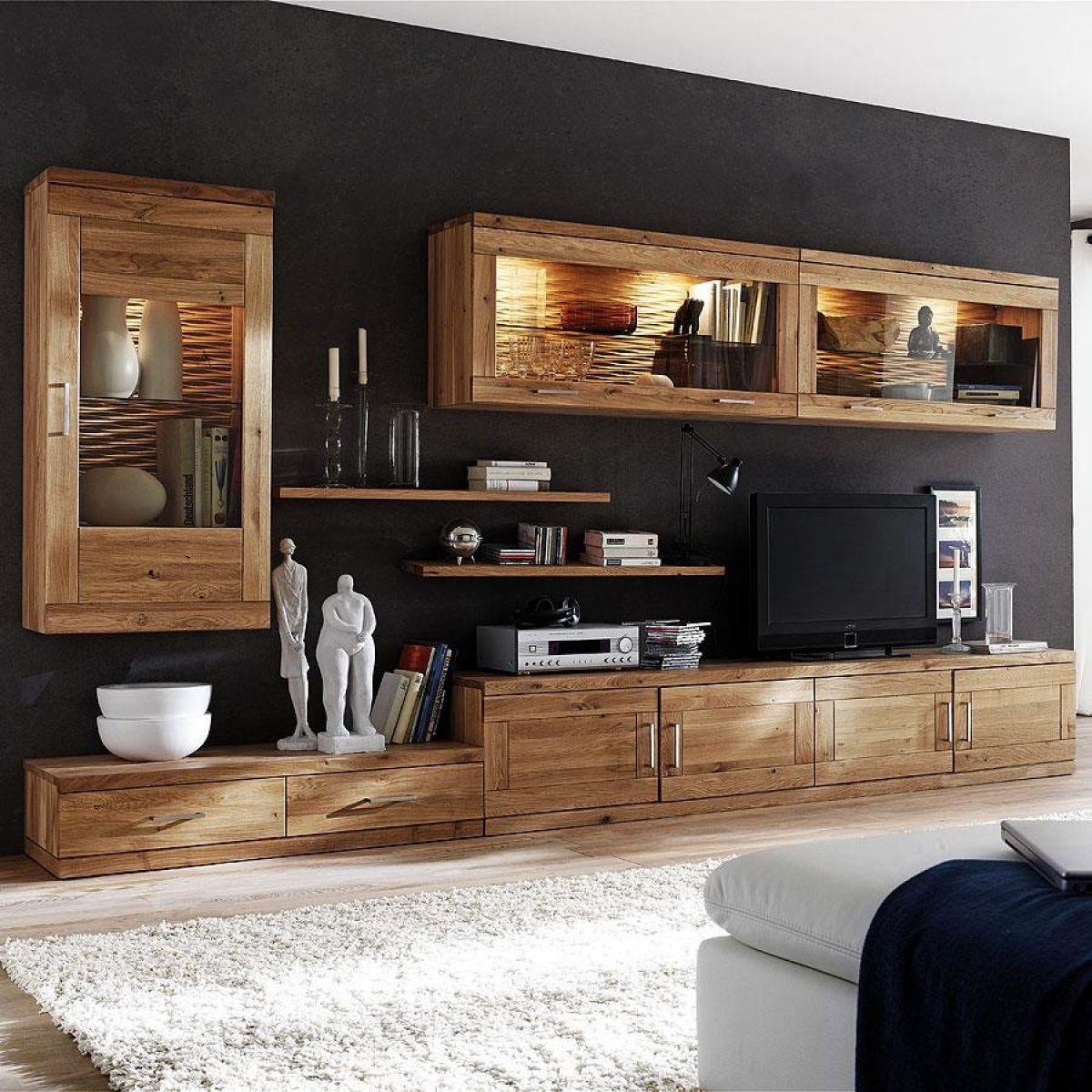 Massivholz Wohnwand Wohnen Wohnzimmermöbel Wohnwand