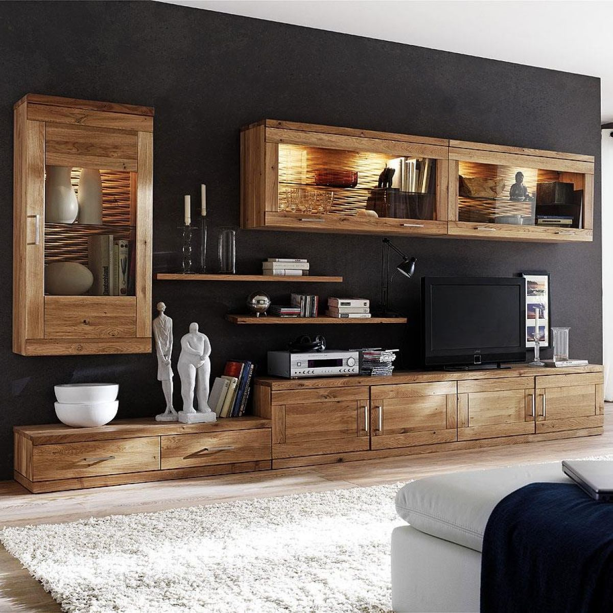 Nett Massivholz Wohnwand Wohnen Wohnwand Wohnzimmerdesign