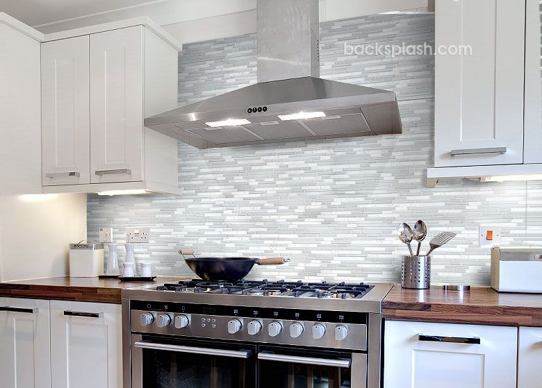 White marble glass backsplash tile in kitchen against brown soapstone or butcher block countertop also best ideas  gadgets images on pinterest small