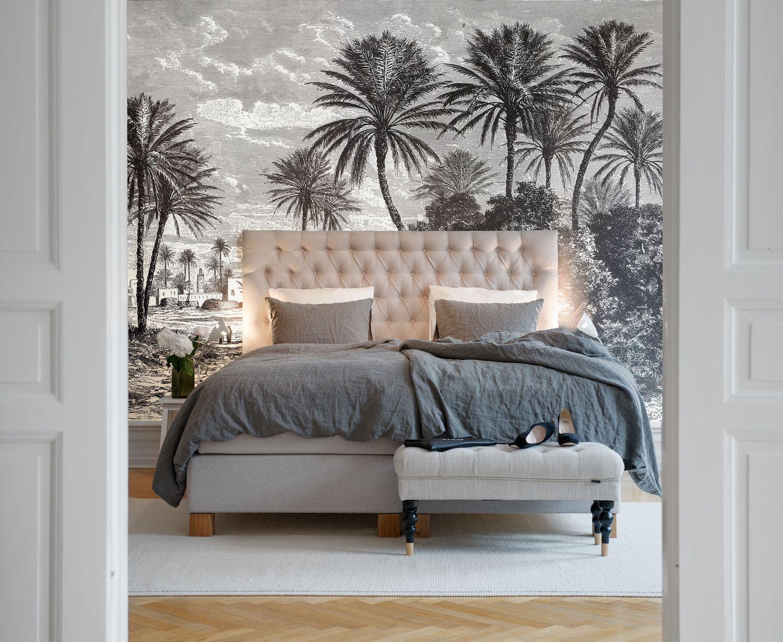 Le d cor panoramique oasis en noir et blanc de la collection volume 2 d 39 au fil des couleurs for Au fil des couleur