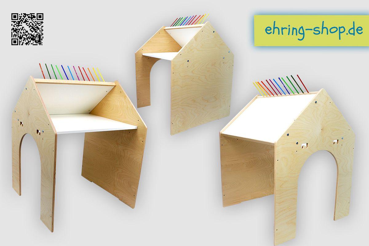 """Unsere neuste Kreation hat es wirklich in sich: Das """"Mal- und Spielhaus Pauline"""" kann gleichzeitig als Spielhaus, als höhenverstellbarer Schreibtisch UND als Steh- und Malpult genutzt werden. Und das auch zu einem unschlagbaren Preis.    Was es mit diesem neuen Designerstück auf sich hat und warum es sogar in Sachen Sicherheit punktet, erfahrt Ihr unter www.ehring-shop.de oder unter https://www.ehring-shop.de/spiel-und-malhaus-pauline/a-190/?ix=16."""