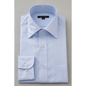 ワイシャツ メンズ 長袖 スリム ブルー 青 サックス ワイドカラー クールマックス カッターシャツ 3L 4L 大きいサイズ