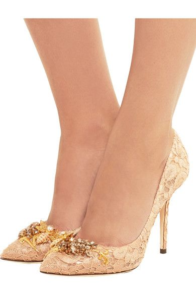 1d24a39fea Dolce & Gabbana - Embellished Corded Lace Pumps - Blush | Shoes ...