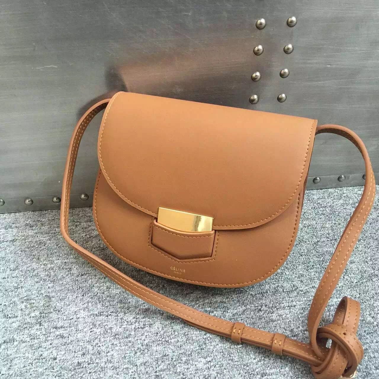 c79e5b1981 Celine Small Trotteur Bag In Tan Smooth Leather Calfskin Spring 2016 ...