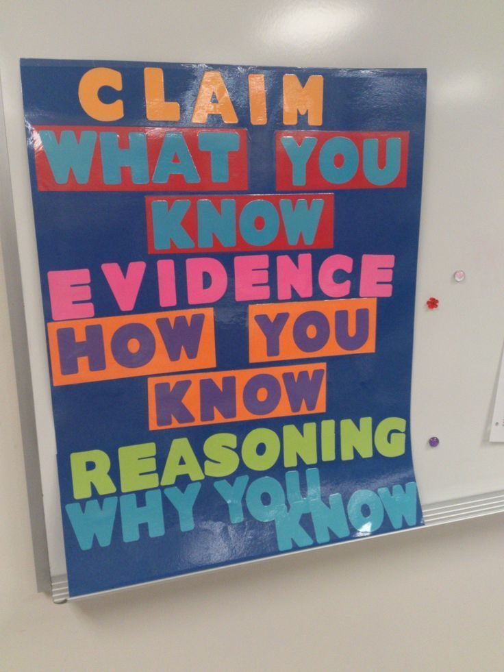 claim evidence reasoning bulletin board Middle school