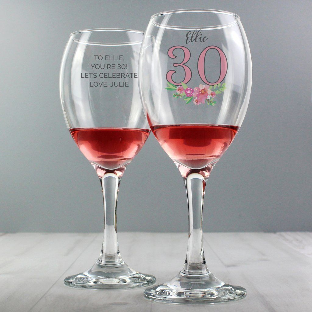 Personalised Birthday Age Floral Wine Glass Wine glass