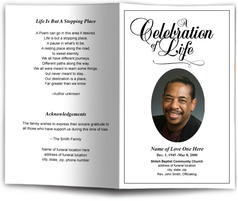 Funeral Program Obituary Templates Memorial Services - free funeral program template