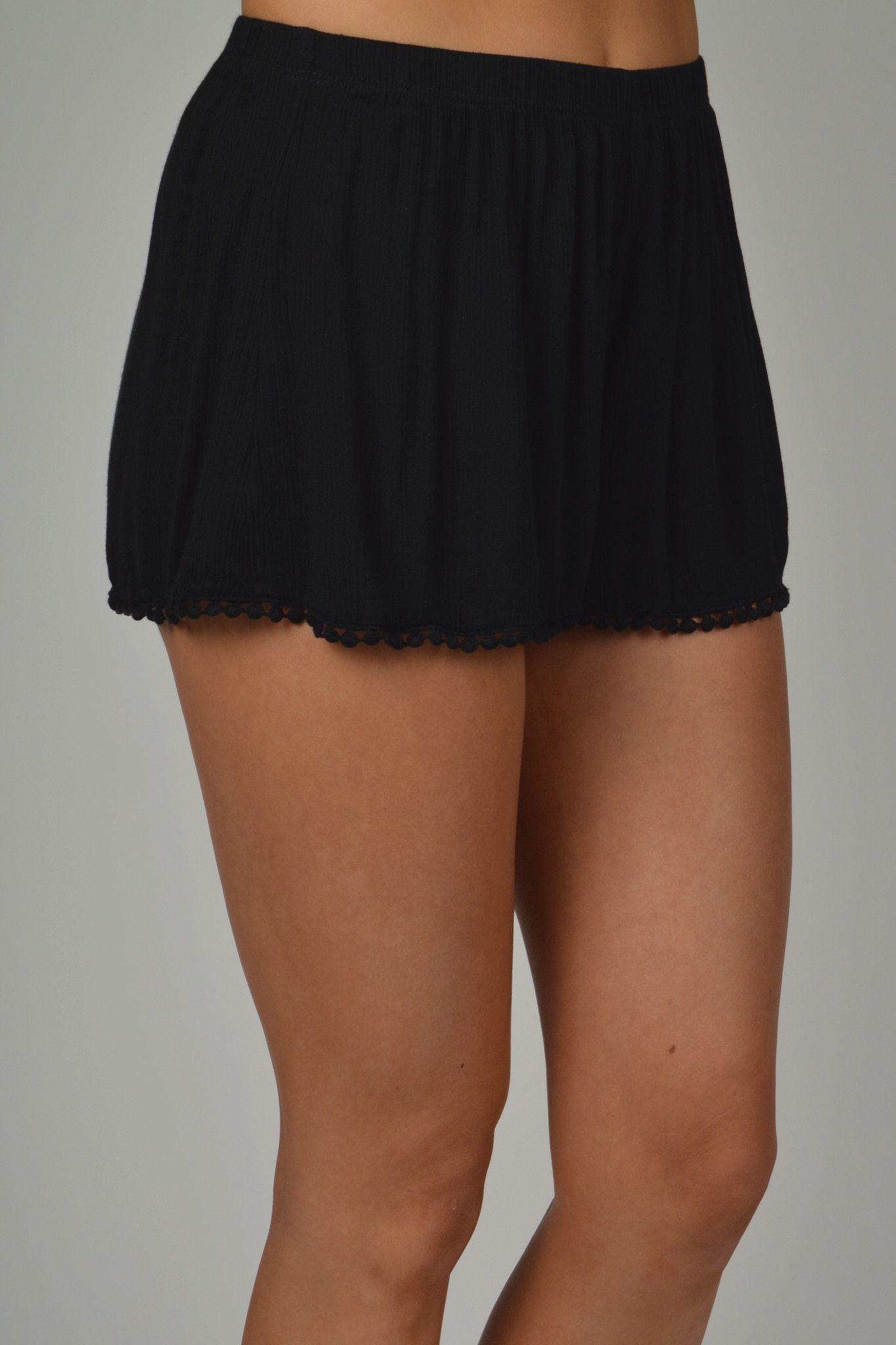 Black Shorts With Pom Pom Lace Trim