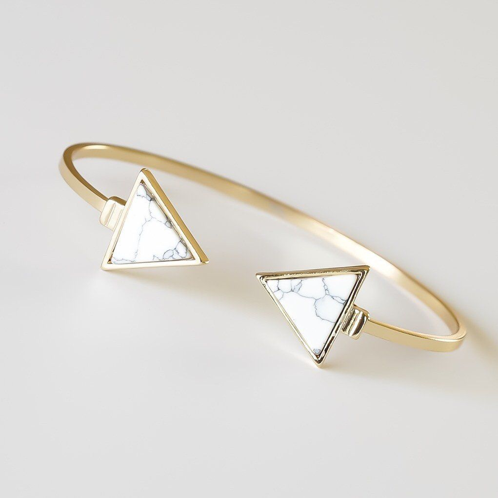 Buy marble rose gold silver and floral geo triangles rectangular - Marble Triangle Bracelet