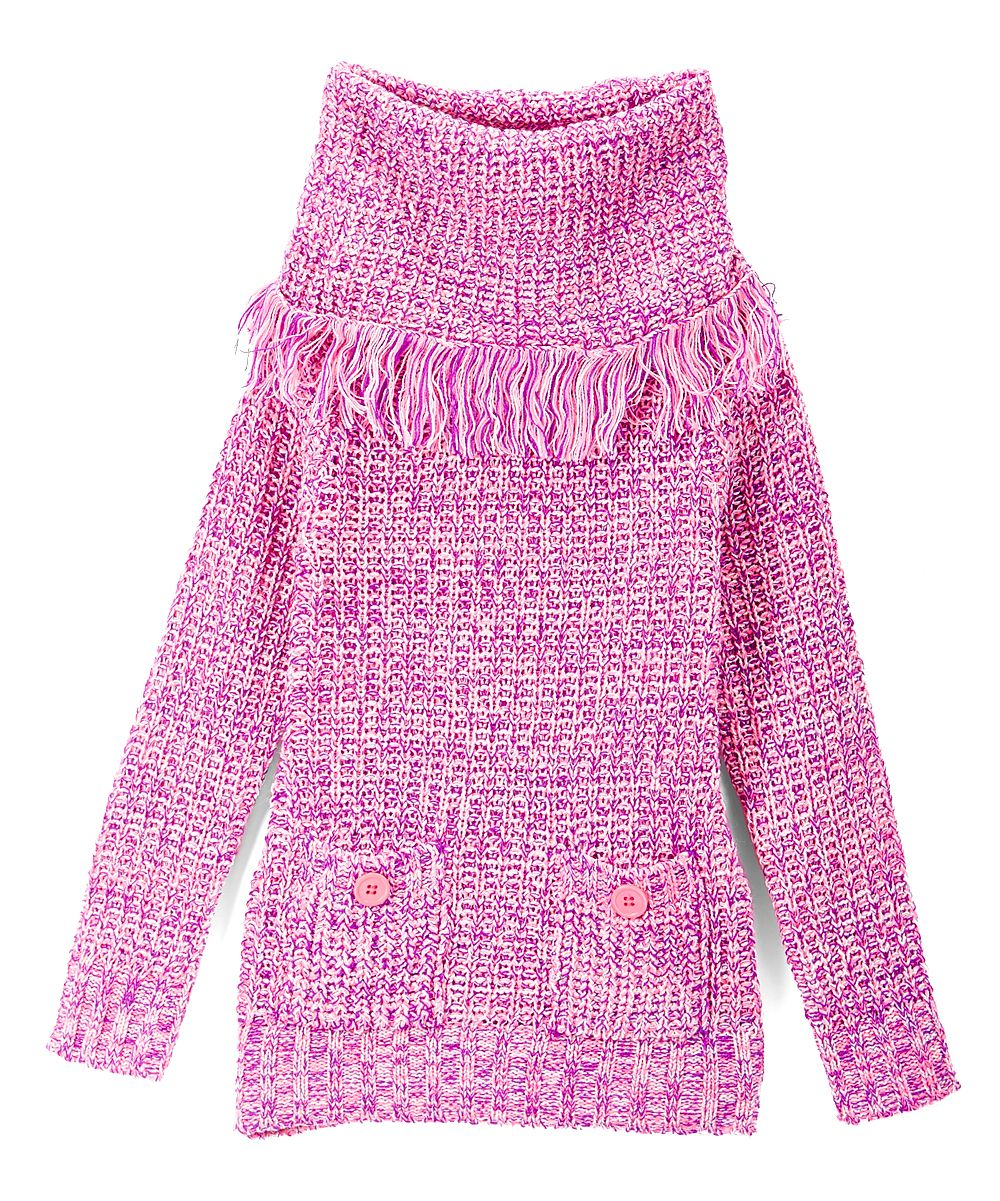 Fuchsia Pocket Cowl Neck Sweater - Toddler & Girls | Cowl neck ...