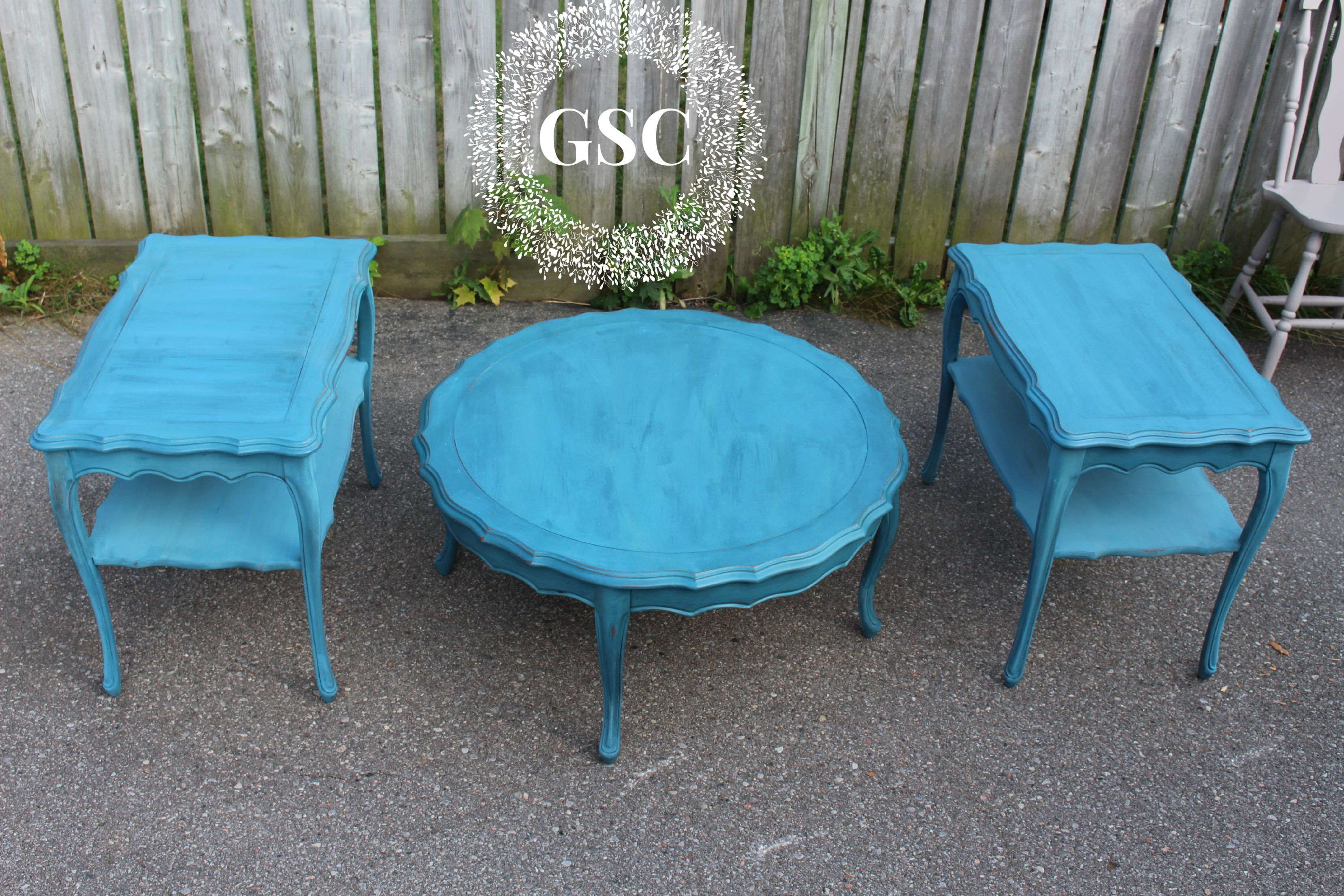 Miss Mustard Seed Flow Blue Coffee Table and End Tables! Finished off with the Mmsmp Tough Coat