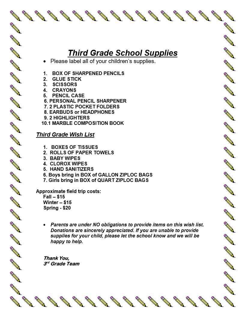 3rd grade school supplies list