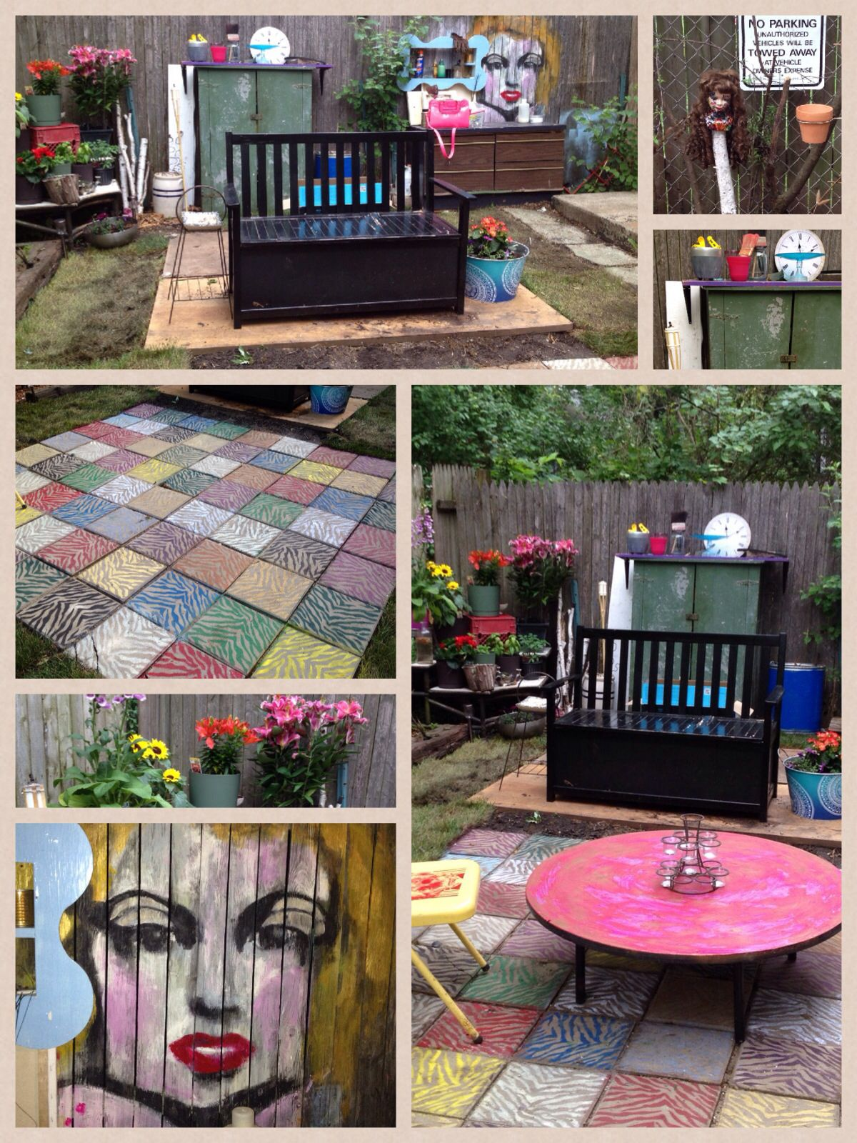my fabulous backyard spray painted cheap pavers two old doors as