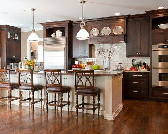 my kitchen inspiration: dark cabinets, white subway tile