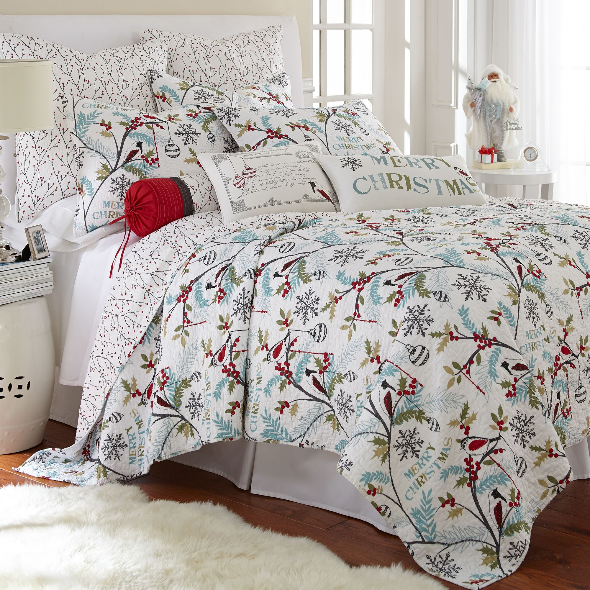 Levtex Home Holly Quilt Set King Two Pillow Shams Christmas Trees Teal Red Green White Size 106x92in And Sham 36x20