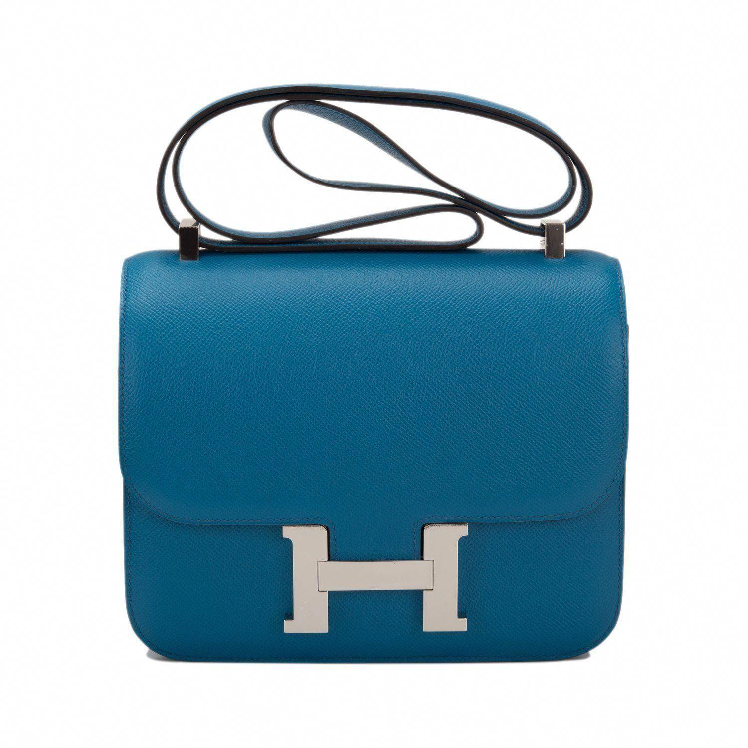 df08e885c711 Hermes Blue Izmir Constance 24cm of epsom leather with palladium hardware  in new or never worn