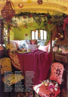 gypsy style/love the raspberry colors. I would love to have a room in my house that was all mine so that I could do this to it :D