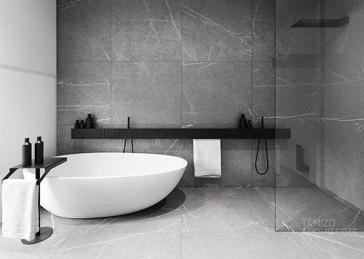 Xxl Feinsteinzeug Fliesen Auch Mit An Der Wand Verlegt Klare Linie Im Badezimmer Mode Bathroom Design Inspiration Modern Bathroom Design Diy Bathroom Remodel