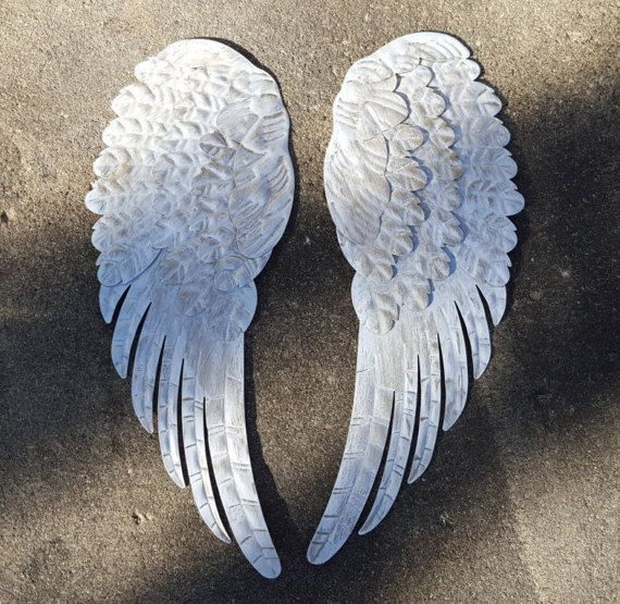 Large Silver Feathered Angel Wings Rustic Hanging Cherub Decor Distressed Style