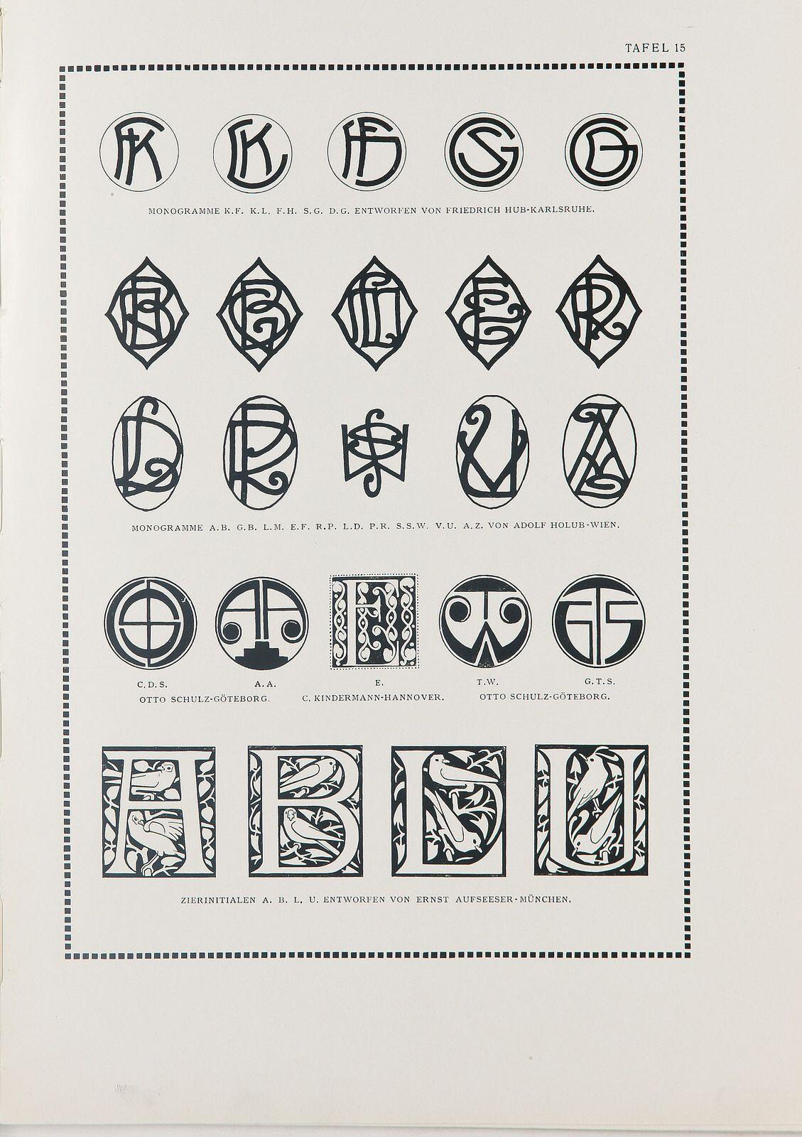 600 Monogramme Und Signets Hofrat Alexander Koch Art Nouveau Art Cards