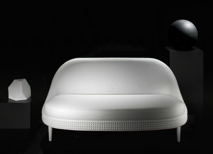 White Leather Salon Two Seater Sofa By Lee Broom