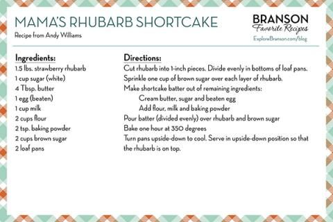 Andy Williams' Mama's Rhubarb Shortcake Recipe   #food #dessert #recipe