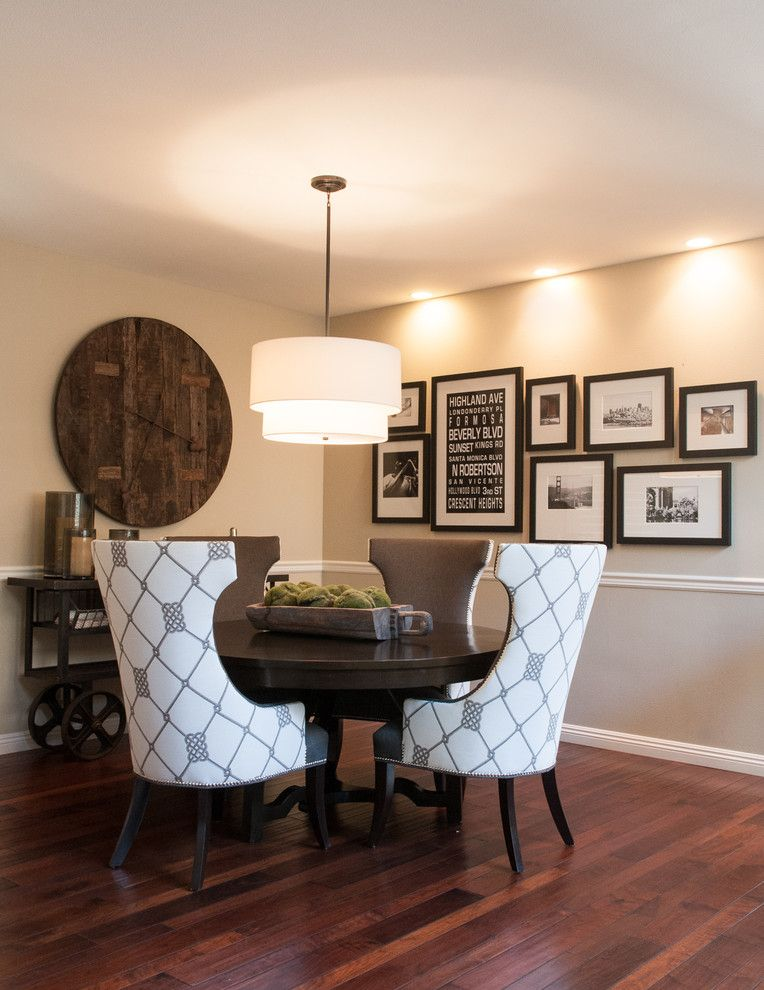 Simple Dining Room Decor For A Transitional Season: Family Wall Collages Dining Room Transitional With Round