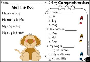 Free Kindergarten Reading Comprehension | Teach Reading | Pinterest ...