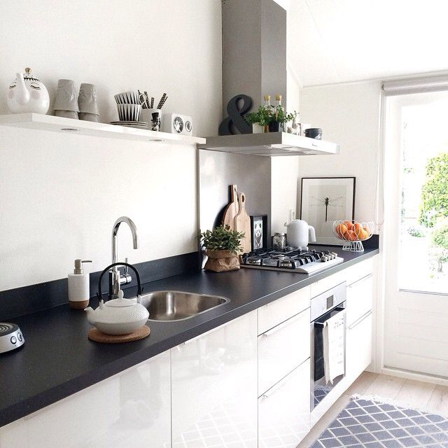 Geliefde Keuken zonder bovenkastjes, verlichting in een plank... | Keuken #NG06