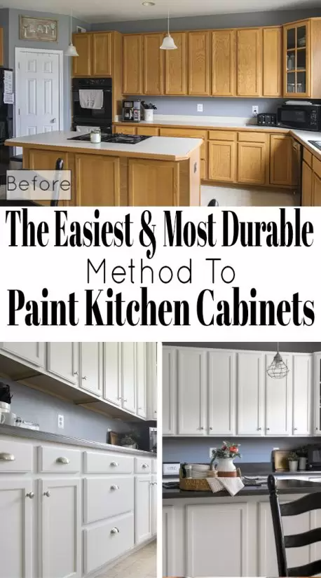 How to paint cabinets that will last- these tips for painting kitchen cabinets include a step by step method, the best paint for kitchen cabinets, and how to use a paint sprayer to get a professional finish.