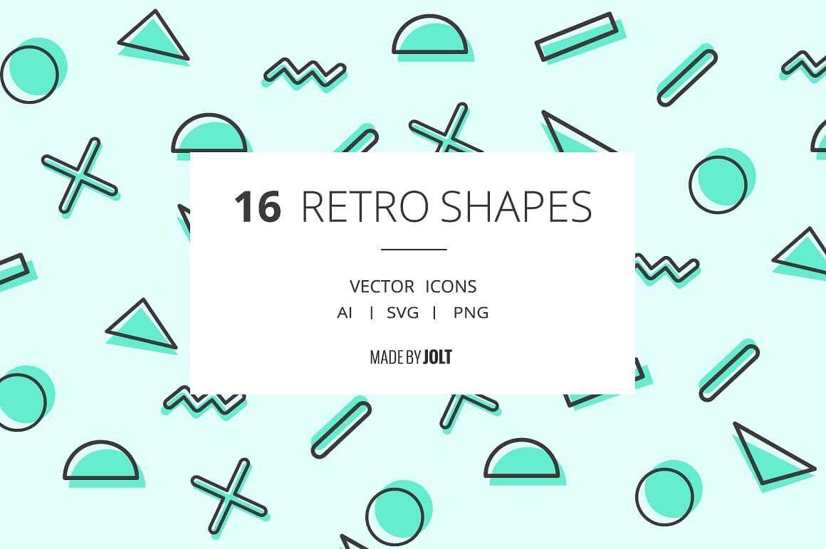Free Download 90s Inspired Retro Shape Icons Design Freebie