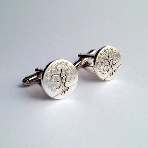 Men's Silver Tree of Life Cuff Links New Handcrafted by Lynx2Cuffs, $17.99