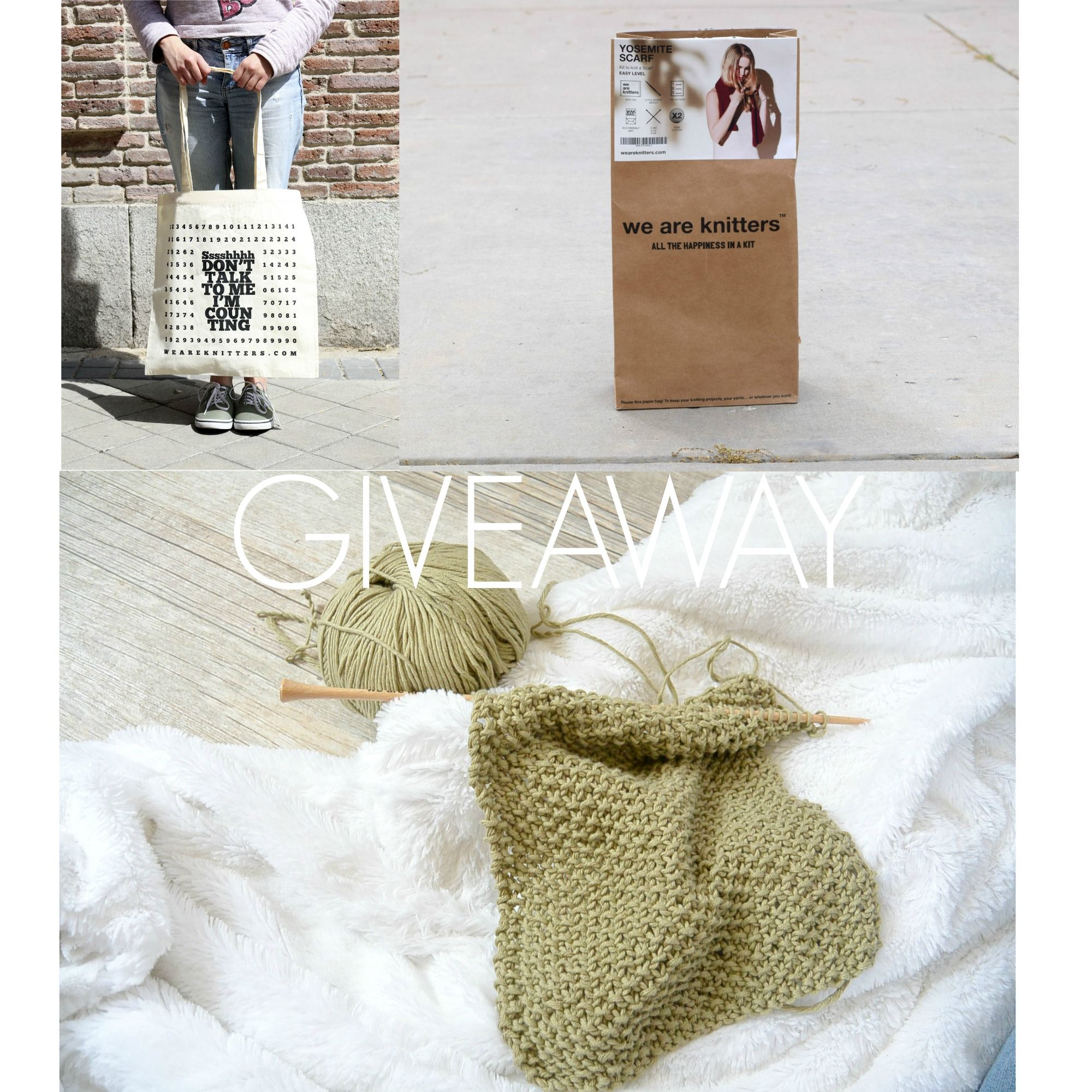 Yosemite Scarf – We Are Knitters Review & Giveaway for the kit AND the bag on Mama In A Stitch Blog!