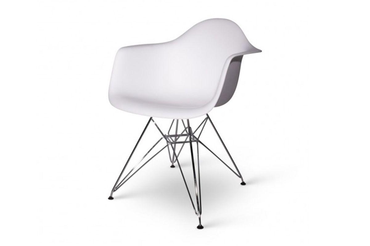 Eames dar replica wit design eetkamer stoel met stalen for Design eetkamerstoelen eames