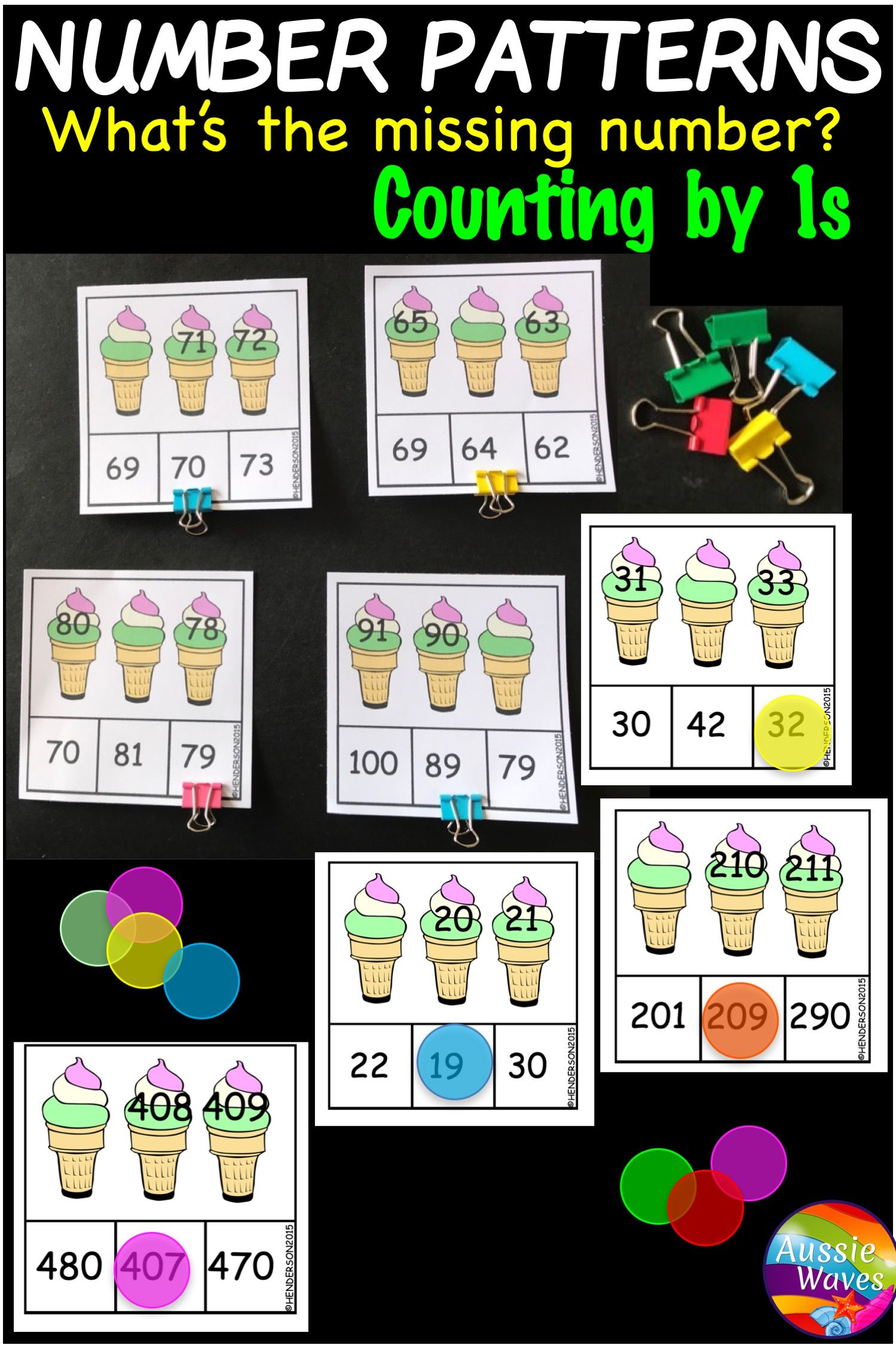 Missing Number Patterns Math Center Activity Counting