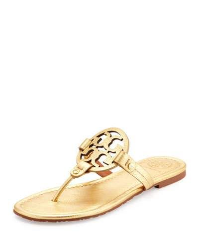 8425d45ad50b0a Tory Burch Miller Metallic Logo Thong Sandals