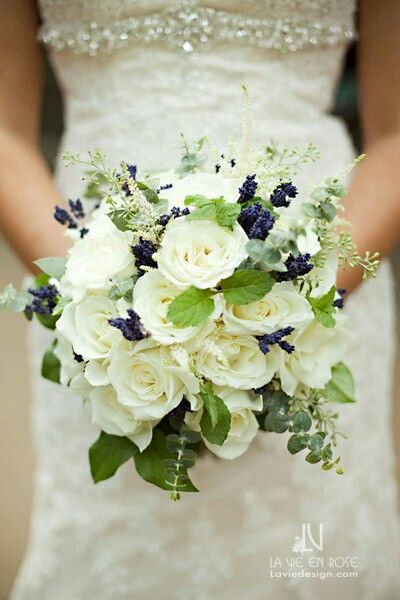 Elegant Bridal Bouquet Which Includes: White Roses, White Astilbe  Dark Blue Florals, Blue Eucalyptus + Green Foliage