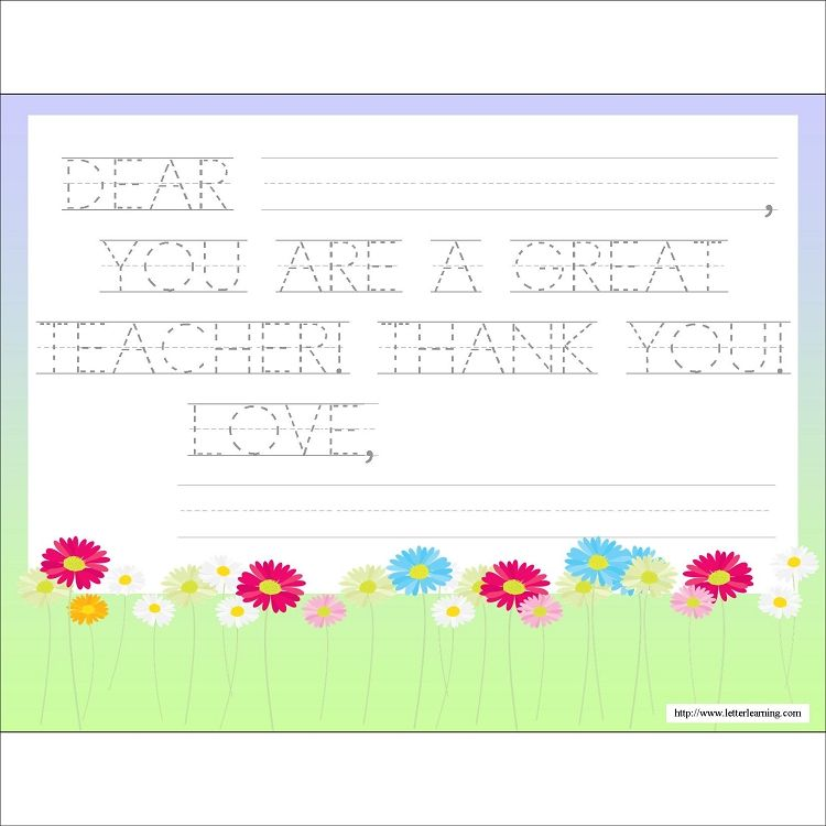 Free Downloadable Letter Pretty Flowers Teacher Appreciation