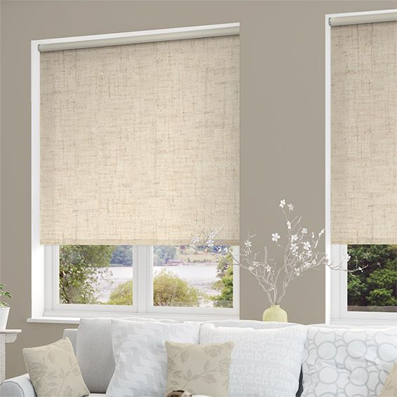 Tranquility linen alabaster blackout roller blind linens for Linen shades window treatments