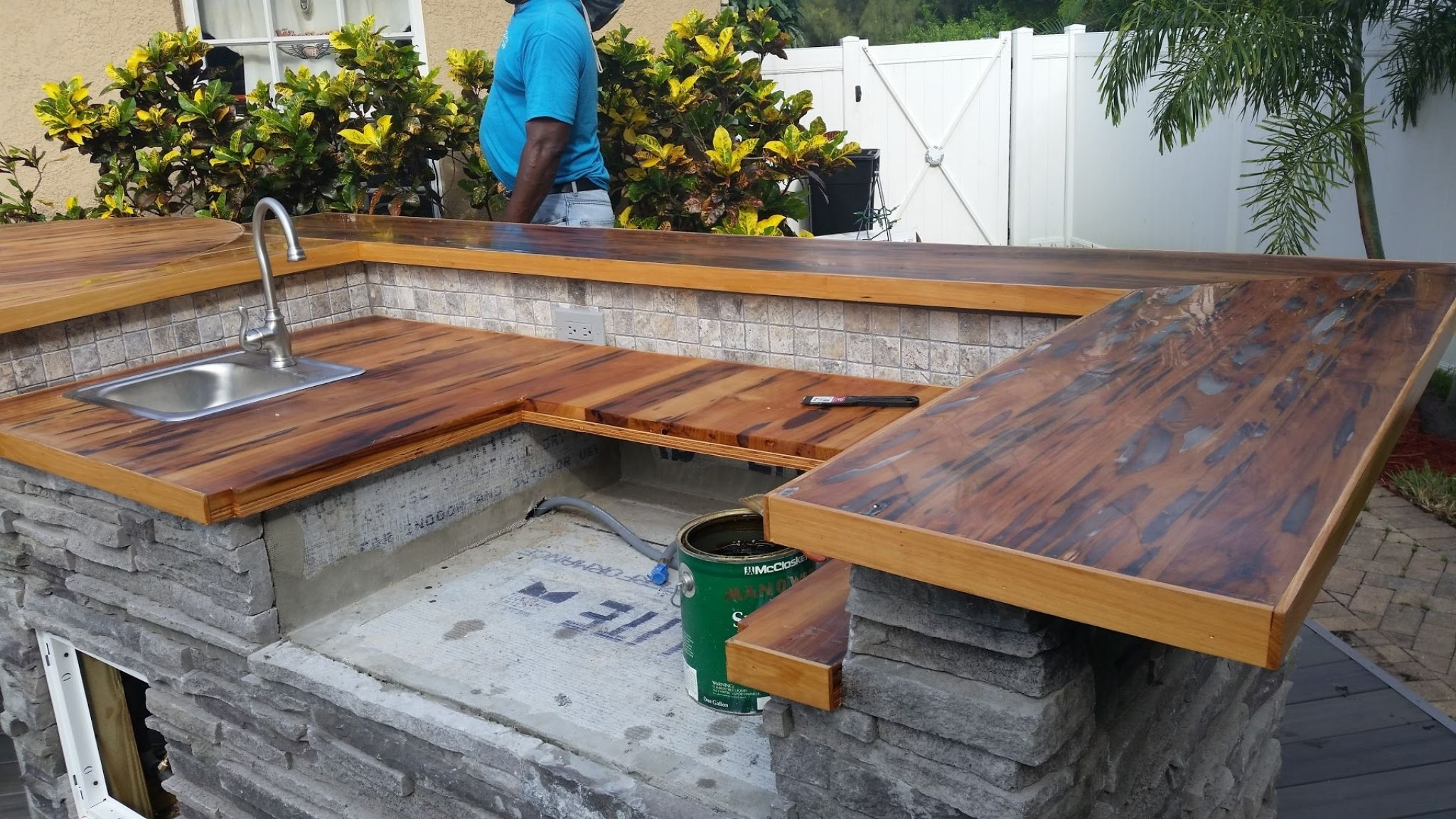 Outdoor Kitchen Wood Countertops Neutral Interior Paint Colors