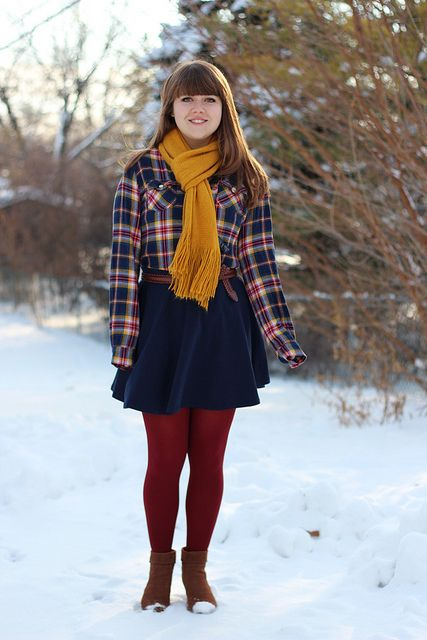 143e31070a6f60 Flannel Shirt, Navy Skirt, Yellow Scarf, Dark Red Tights by petitepanoply,  via Flickr