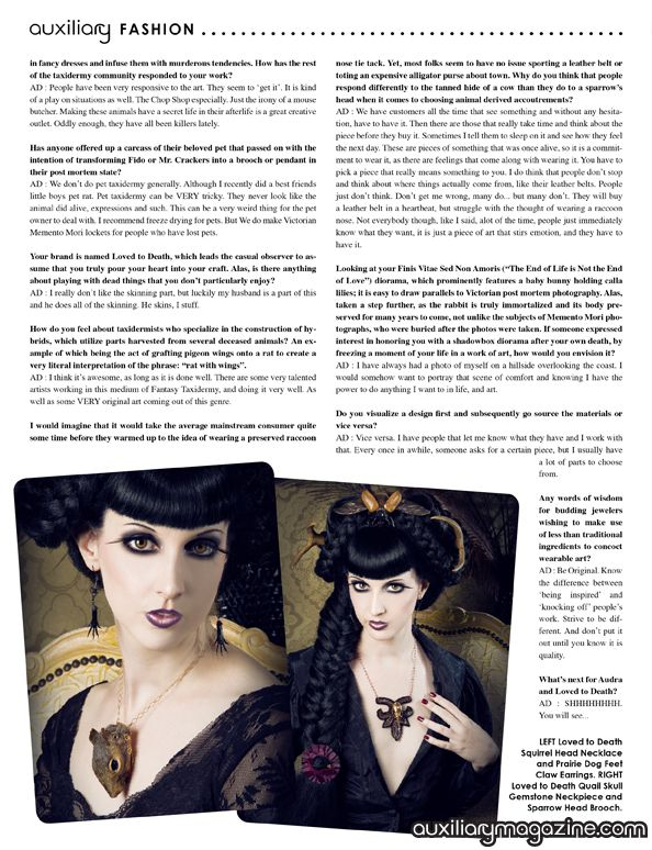 Loved to Death designer feature and interview in the October/November 2010 issue of Auxiliary Magazine. Interviewed by Vanity Kills