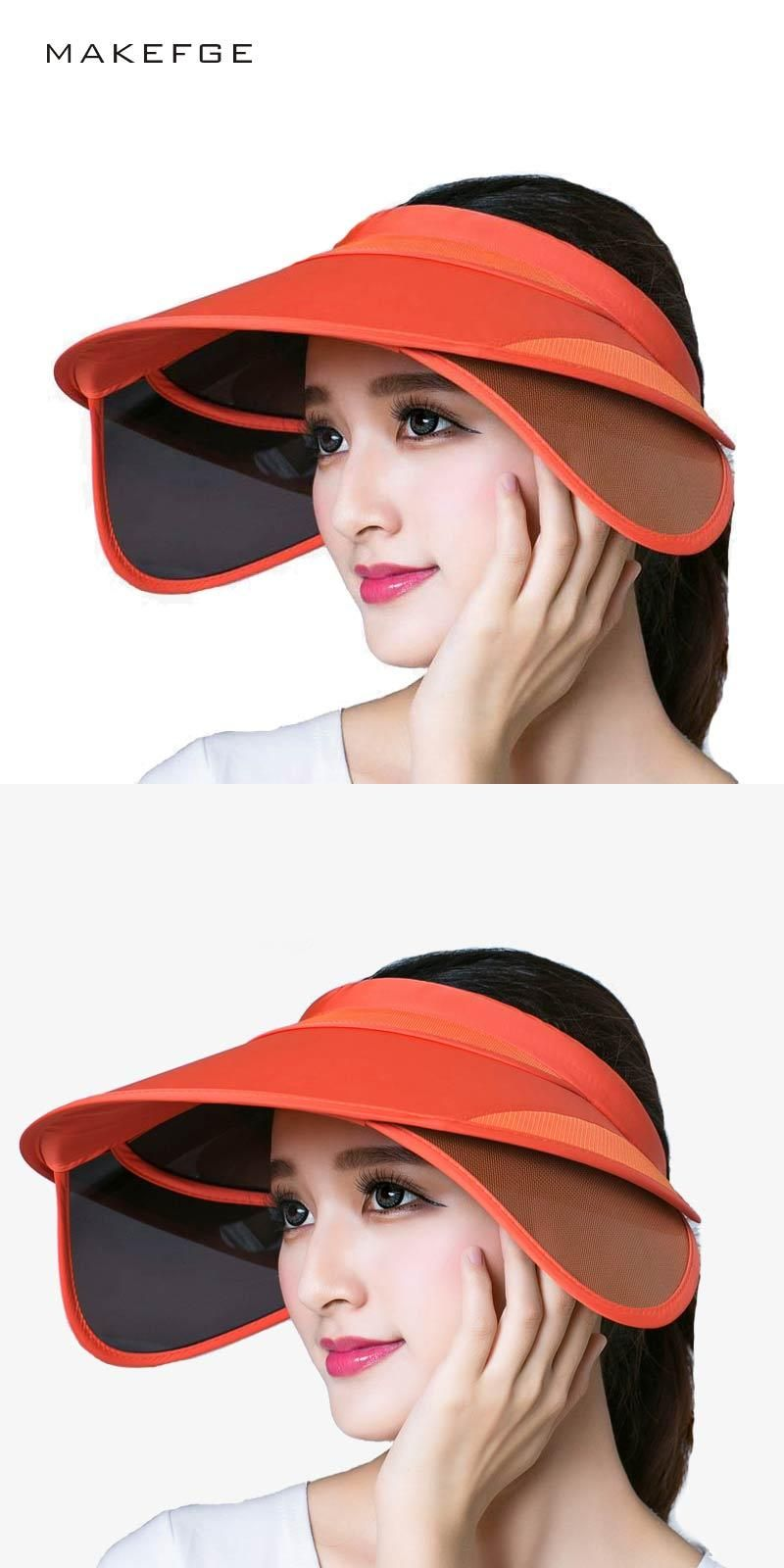 abf094881b3 visor2017 New Retractable Visor Female Summer Sun Empty Top Hat Riding UV  Sun Hat Woman Beach Sun visor Hat